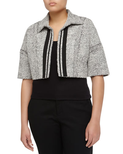 Carolina Herrera Boxy Open-Front Tweed Cropped Jacket, Canvas/Charcoal
