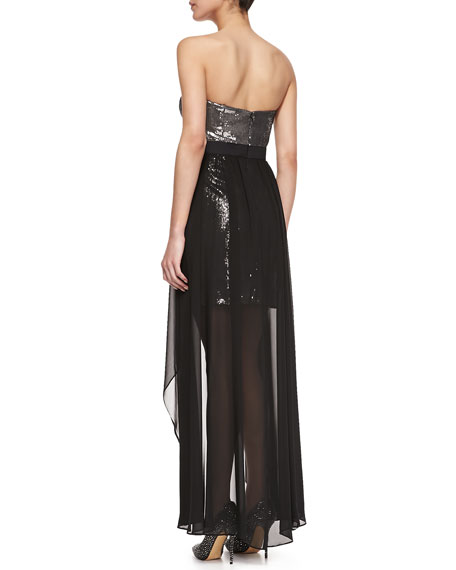 Sequined Strapless Cocktail Dress, Black