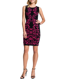 Cynthia Steffe Briella Sleeveless Jacquard-Print Sheath Dress