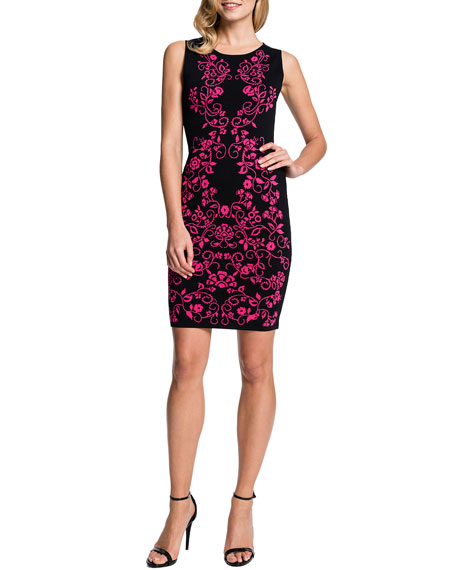 Briella Sleeveless Jacquard-Print Sheath Dress