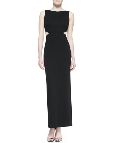 Cutout-Back Boat-Neck Gown