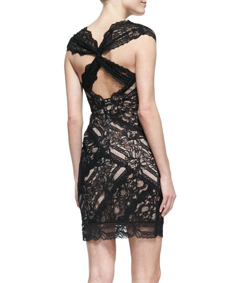 Cap-Sleeve V-Neck Lace Cocktail Dress, Black