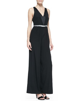 Nicole Miller Sleeveless V-Neck Beaded-Waist Jumpsuit, Black