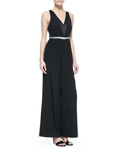 Nicole Miller Sleeveless V-Neck Beaded-Waist Jumpsuit, Black