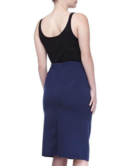 Double-Face Straight Skirt, Indigo, Women's