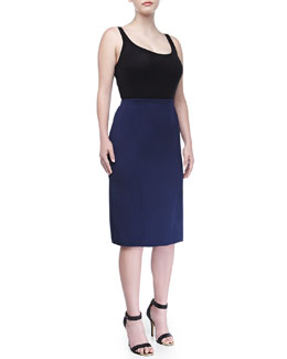Carolina Herrera Double-Face Straight Skirt, Indigo, Women's