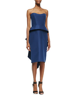 Monique Lhuillier Strapless Peplum Cocktail Dress, Navy