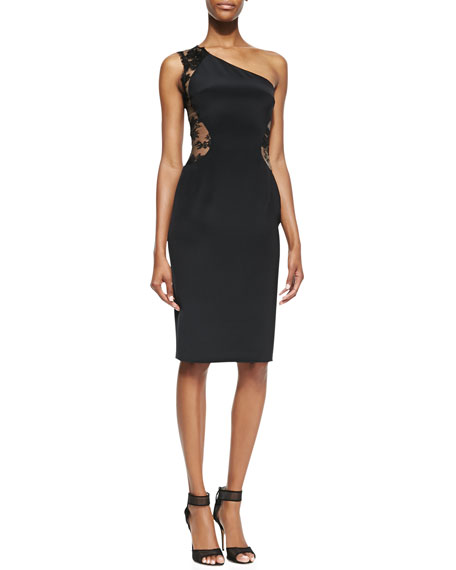 One-Shoulder Lace Inset Cocktail Dress, Black