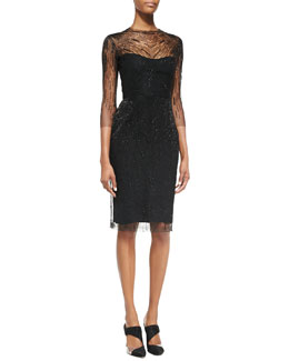 Monique Lhuillier 3/4-Sleeve Sequined Overlay Cocktail Dress, Black