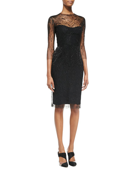 3/4-Sleeve Sequined Overlay Cocktail Dress, Black