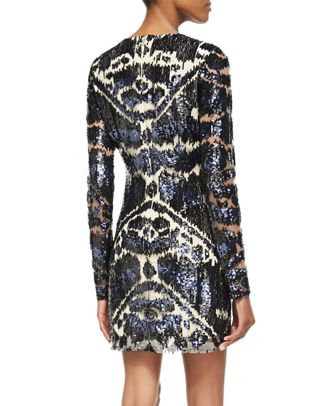 Long-Sleeve Sequined Cocktail Dress, Multicolor