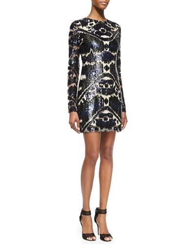 Monique Lhuillier Long-Sleeve Sequined Cocktail Dress, Multicolor