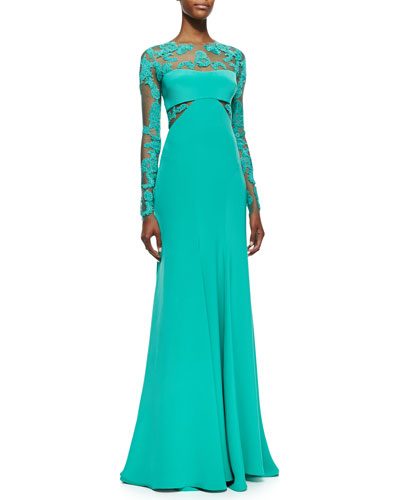 Monique Lhuillier Long-Sleeve Embroidered Lace Inset Gown, Sea Green