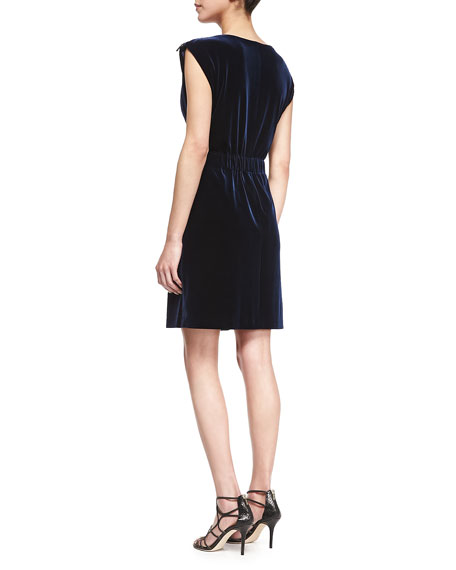 Velvet Dress w/Tied Sash