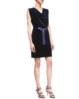 Laundry by Shelli Segal Velvet Dress w/Tied Sash