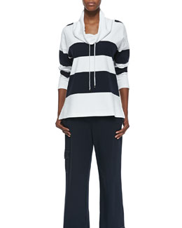 Neiman Marcus Striped Cowl Neck Top & Pants Set