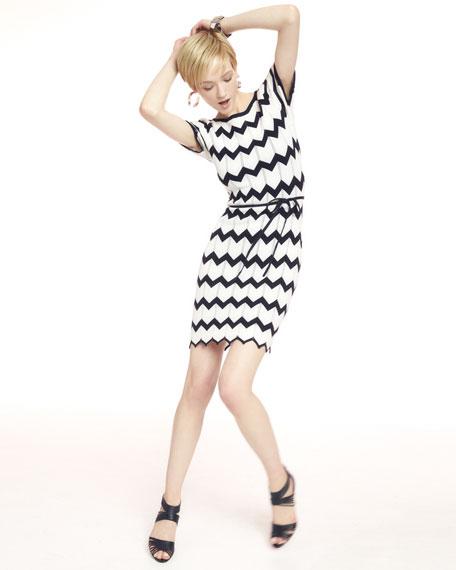 Carlotta Knit Zigzag-Stitch Dress