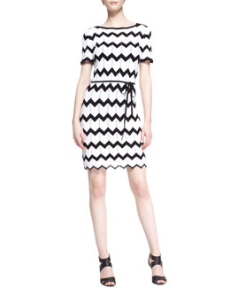 Trina Turk Carlotta Knit Zigzag-Stitch Dress