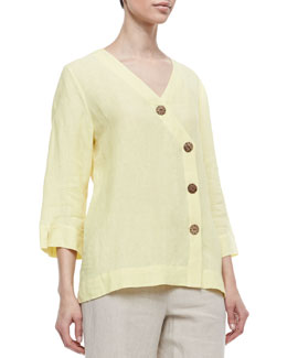 Neiman Marcus Long Sleeve Tunic with Large Notched Buttons