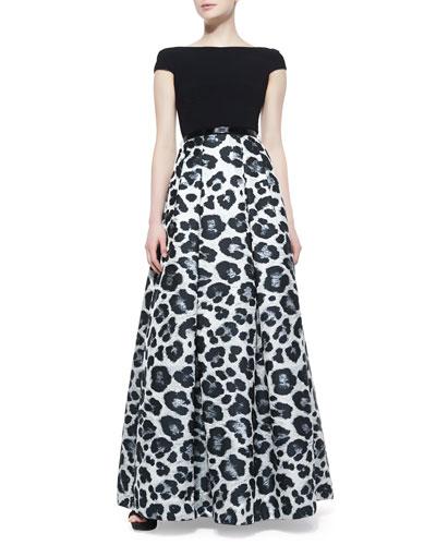 Theia Short Sleeve Animal-Print Ball Gown