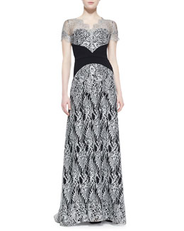 Theia by Don O'Neill Short-Sleeve Lace Overlay Gown