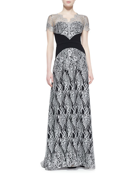 Short-Sleeve Lace Overlay Gown