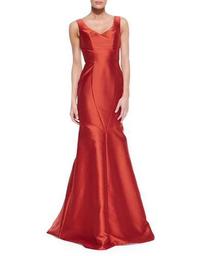 Theia Sleeveless V-Neck Mermaid Gown, Spice