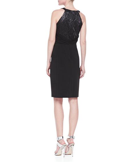 Halter Sequined Jersey Dress
