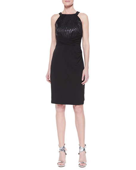 Halter Sequined Jersey Dress