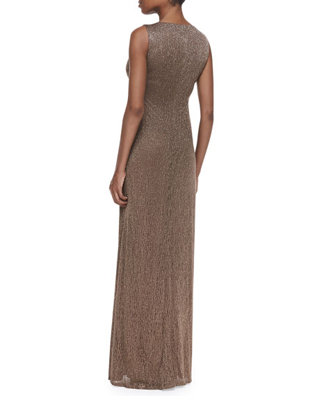 Sleeveless Draped-Neck Metallic Lace Gown
