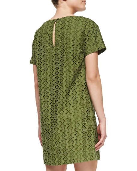 short-sleeve eyelet shift dress