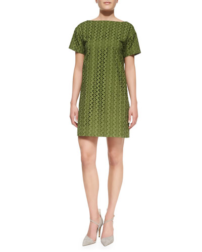 kate spade new york short-sleeve eyelet shift dress