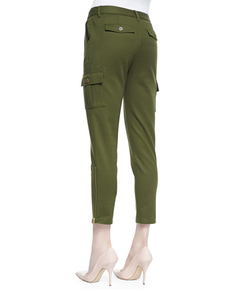 cropped slim cargo pants with zip cuffs