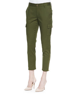 kate spade new york cropped slim cargo pants with zip cuffs