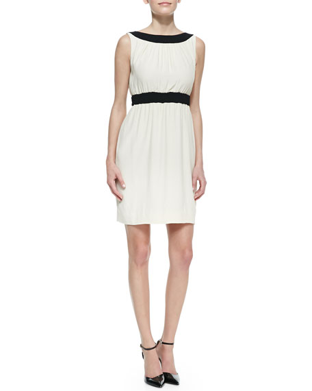 sleeveless colorblock fluid crepe sheath dress, raw almond/black