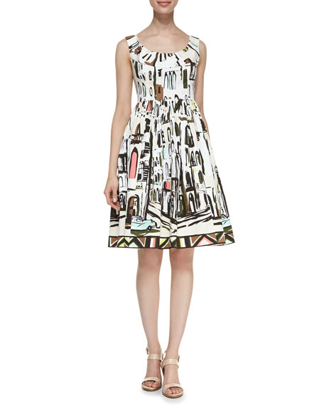 sleeveless landscape-print dress