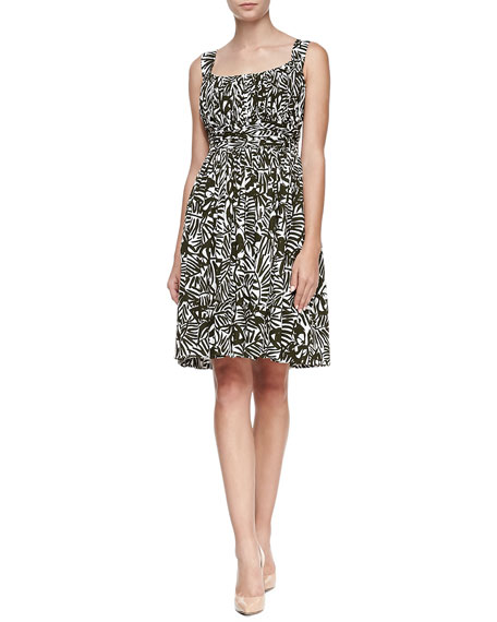 sleeveless ruched orchid-print sundress