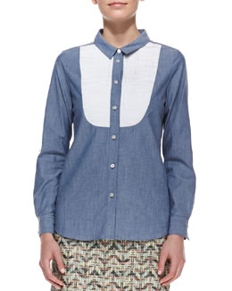 kate spade new york long-sleeve button-down bib shirt, blue/white