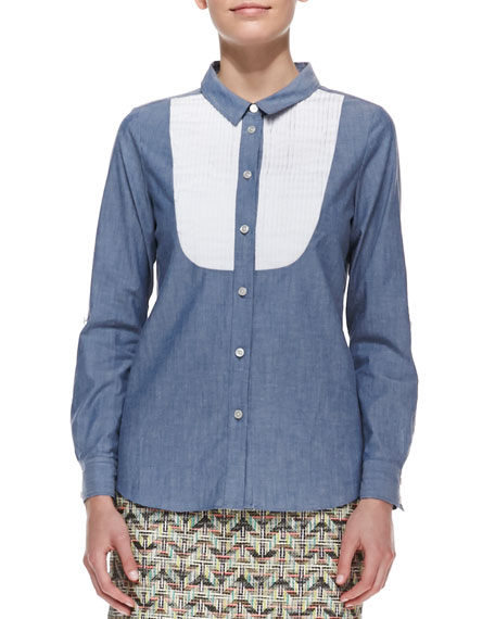 long-sleeve button-down bib shirt, blue/white