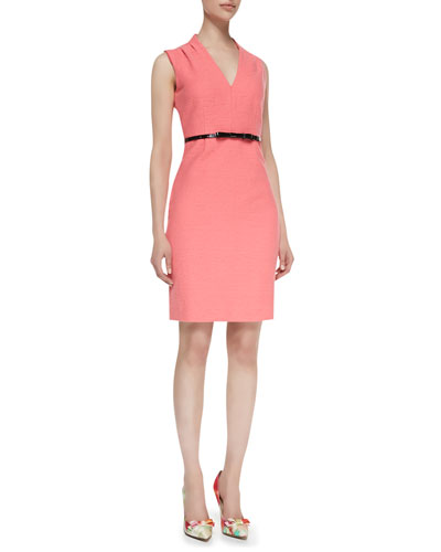 kate spade new york gwendolyn sleeveless v-neck sheath dress, surprise coral 868