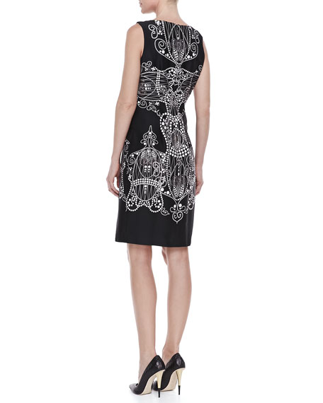 Printed Sleeveless Sheath Dress, Black-White