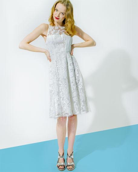 Beach Breeze Lace Sleeveless Dress, White