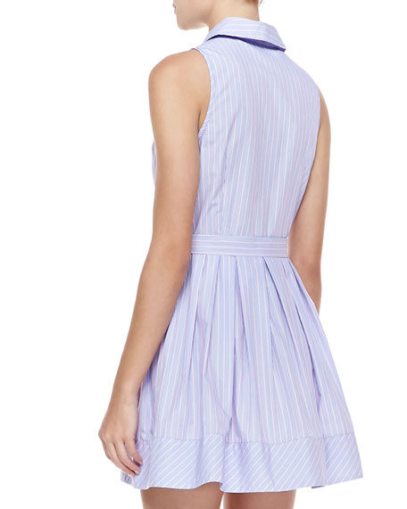 Striped Cotton Tie-Waist Shirtdress