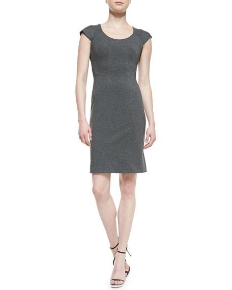 April Cap-Sleeve Structured Jersey Dress