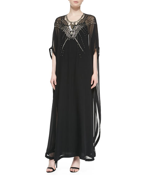 Clare Beaded Long Caftan Dress, Black