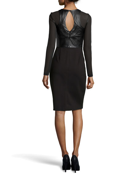 Catherine Deane Riley Leather and Jersey Combo Sheath Dress, Black