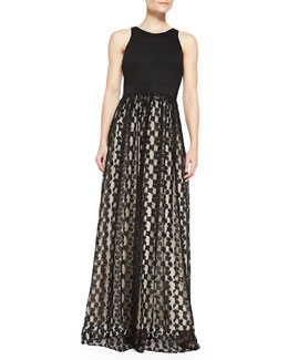 Milly Stella Cheetah Lace Racerback Gown