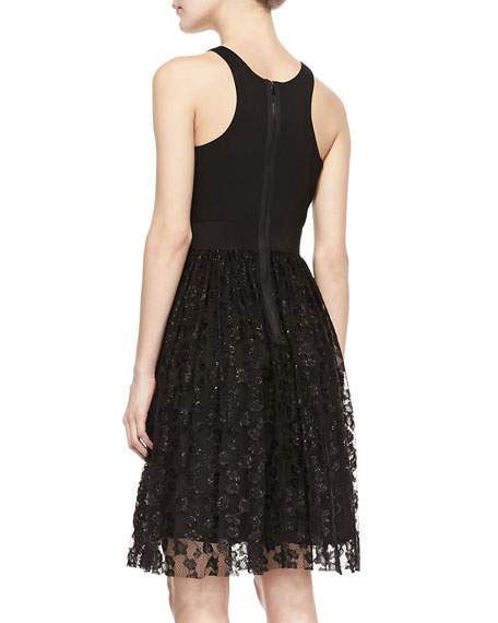 Stella Lace & Ponte Sleeveless Cocktail Dress