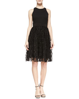 Milly Stella Lace & Ponte Sleeveless Cocktail Dress