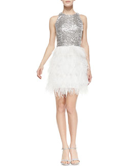 Milly Sophia Sequin & Feather Sleeveless Dress